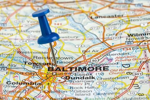 Baltimore MD City Map Dumpster Rentals